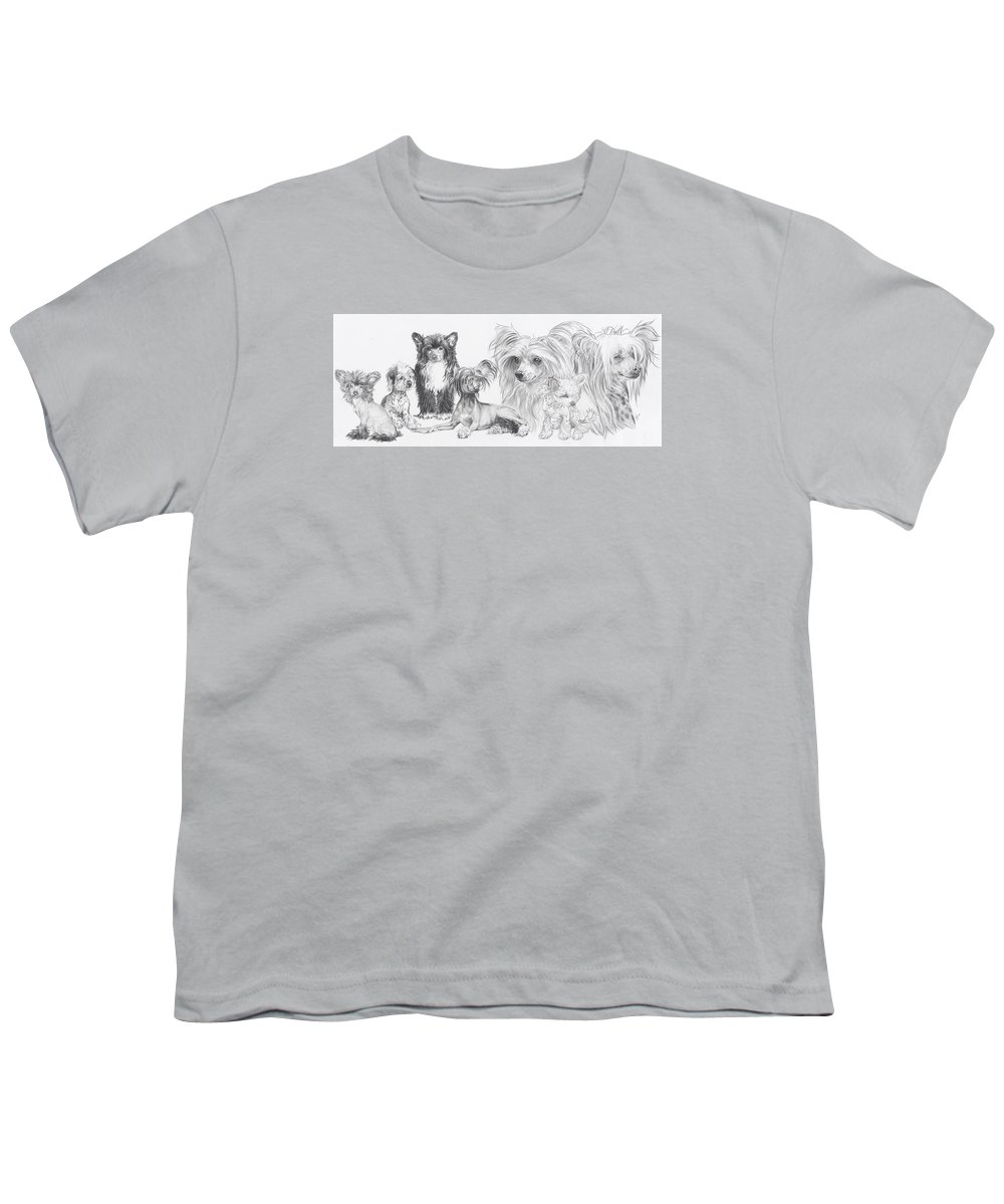 Toy Group Youth T-Shirt featuring the drawing Growing Up Chinese Crested And Powderpuff by Barbara Keith