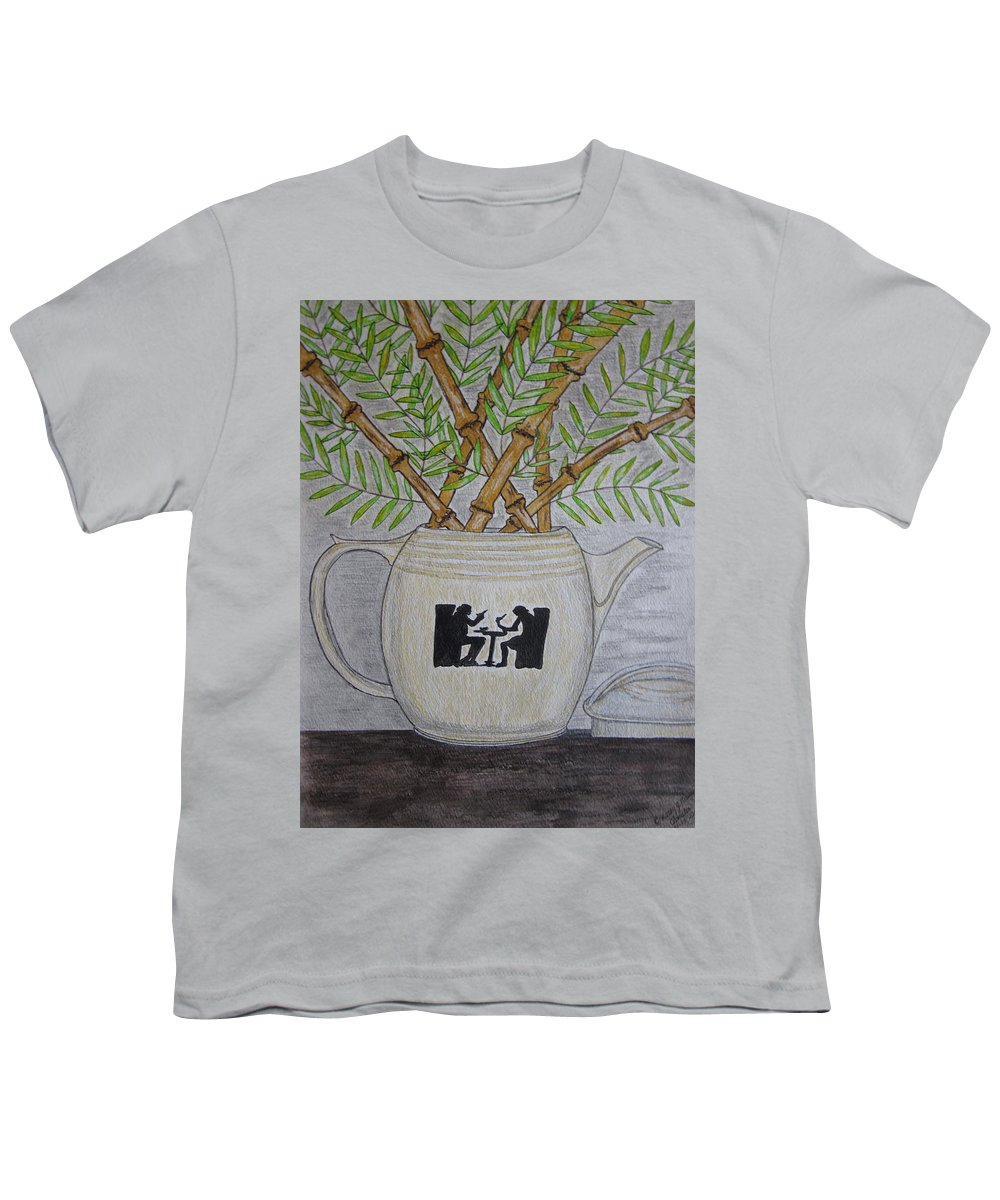 Hall China Youth T-Shirt featuring the painting Hall China Silhouette Pitcher With Bamboo by Kathy Marrs Chandler