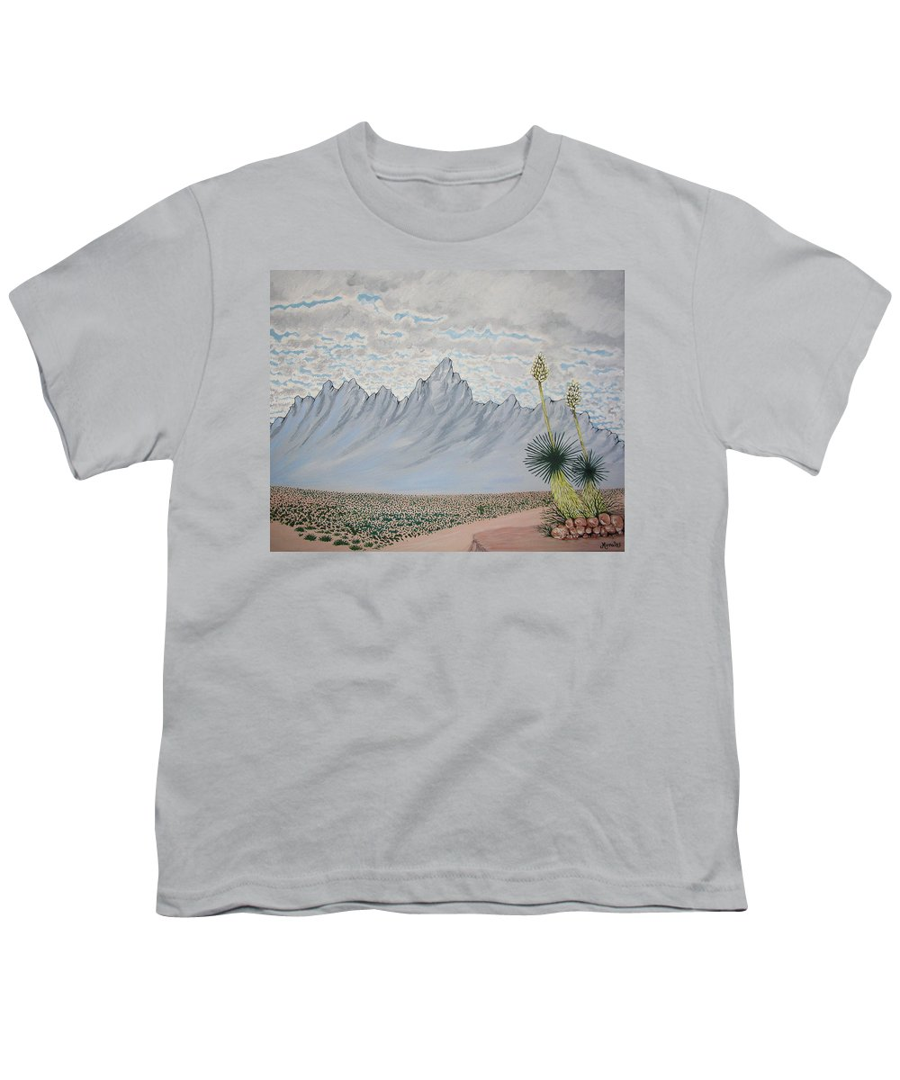 Desertscape Youth T-Shirt featuring the painting Hazy Desert Day by Marco Morales