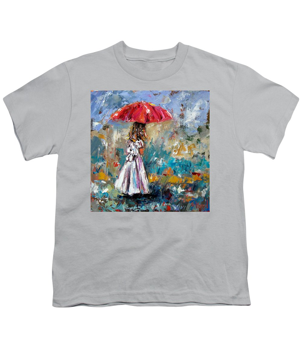 Children Art Youth T-Shirt featuring the painting Her White Dress by Debra Hurd
