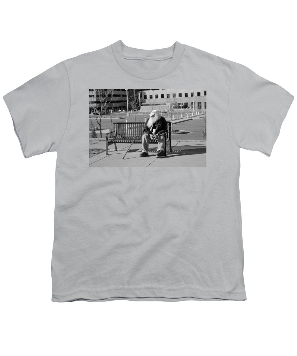 Portrait Youth T-Shirt featuring the photograph Homeless Man by Angus Hooper Iii