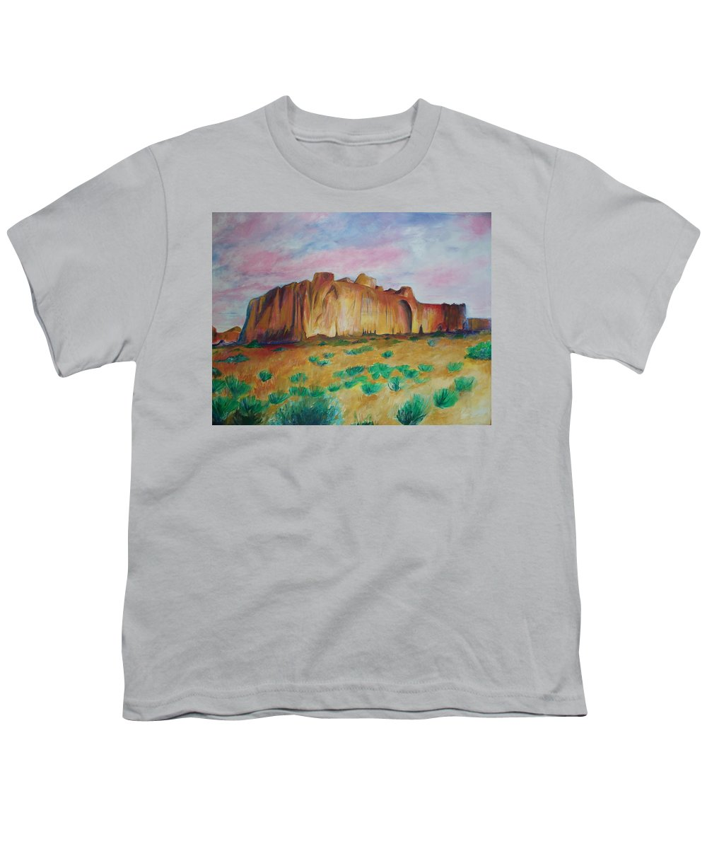 Western Landscapes Youth T-Shirt featuring the painting Inscription Rock by Eric Schiabor