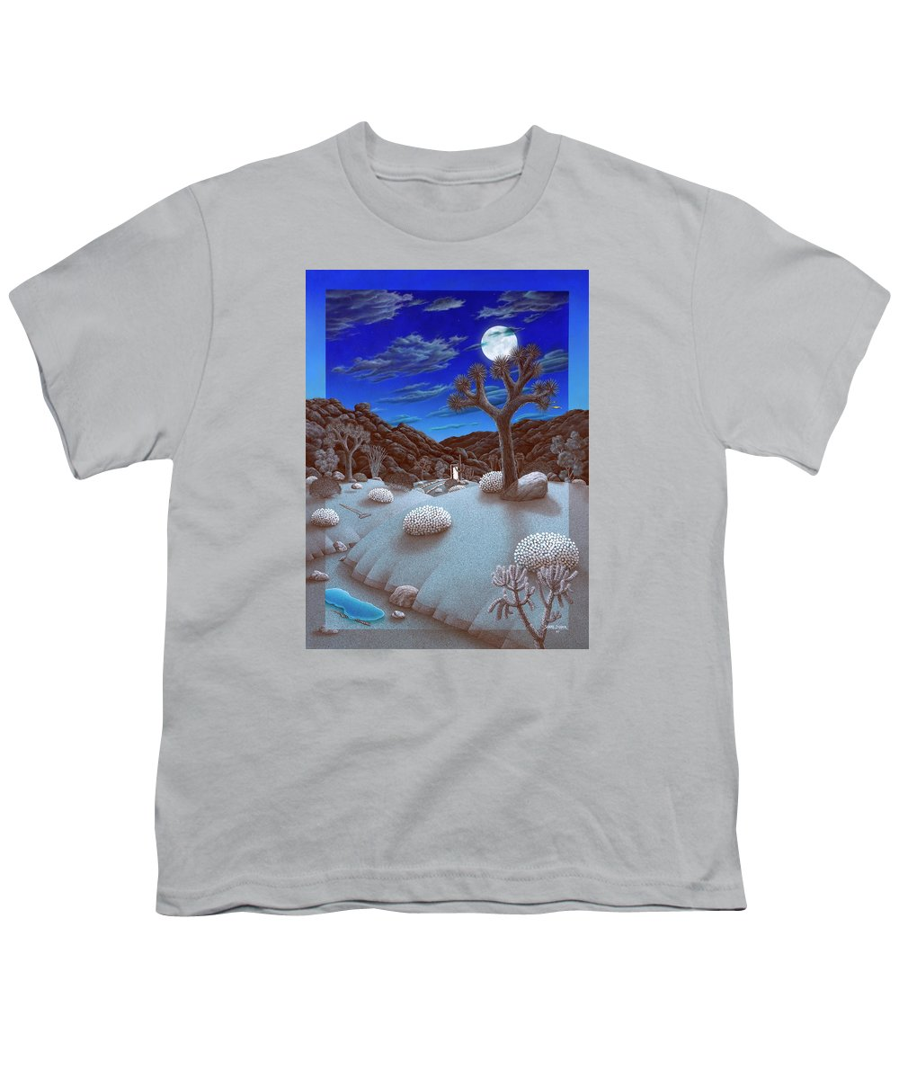 Landscape Youth T-Shirt featuring the painting Joshua Tree At Night by Snake Jagger