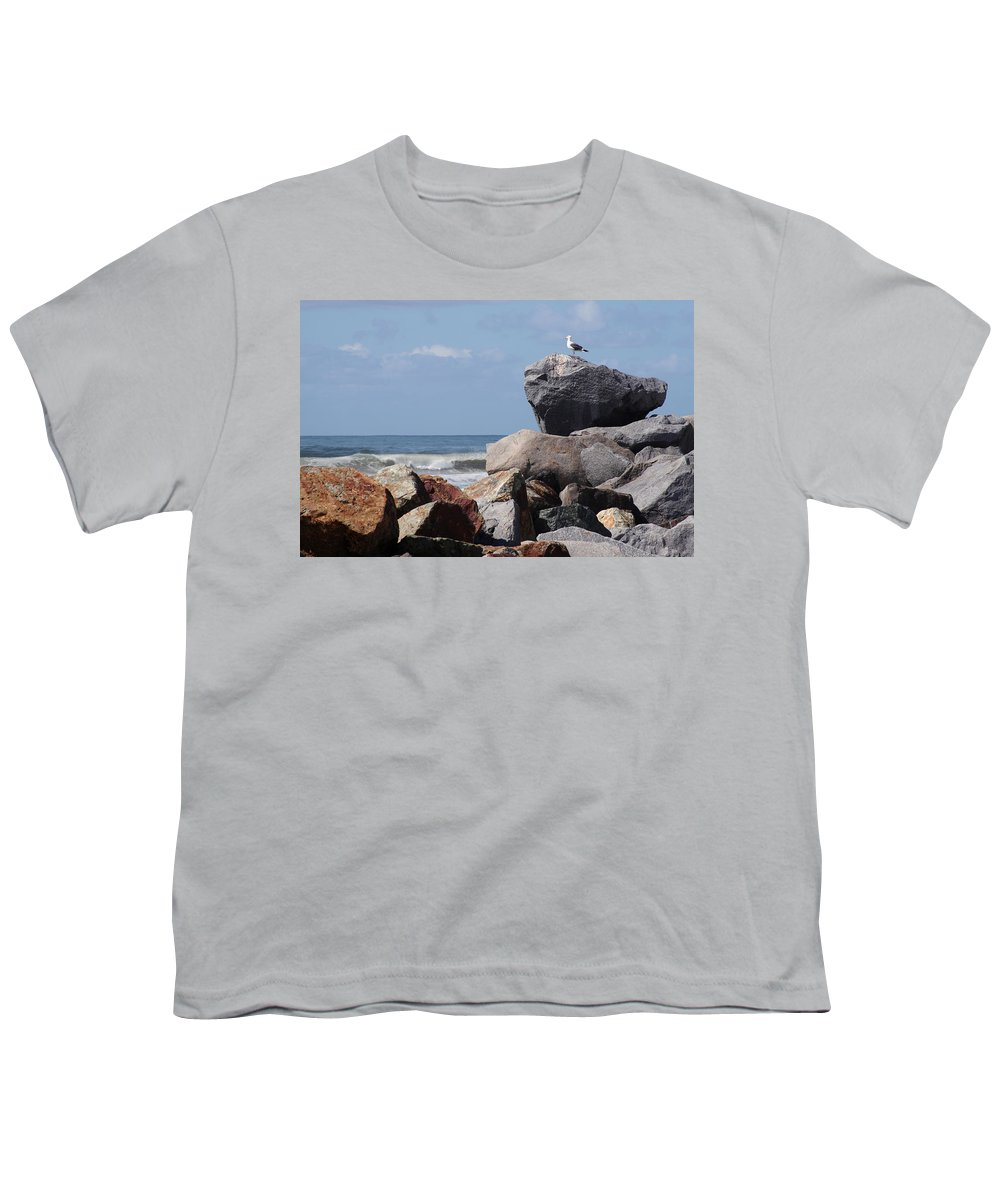 Beach Youth T-Shirt featuring the photograph King Of The Rocks by Margie Wildblood