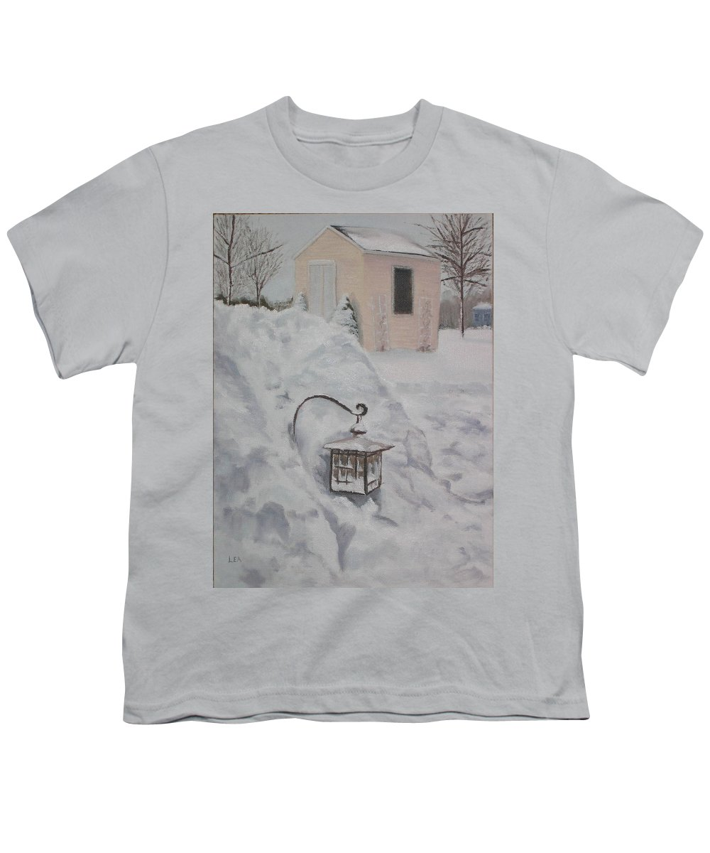 Snow Youth T-Shirt featuring the painting Lantern In The Snow by Lea Novak