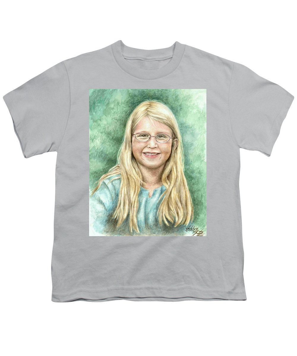 Girl Youth T-Shirt featuring the painting Lily by Nicole Zeug