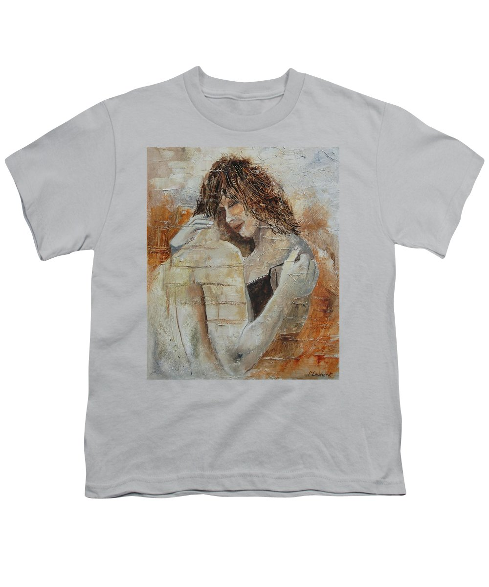 Girl Youth T-Shirt featuring the painting Loving Couple by Pol Ledent