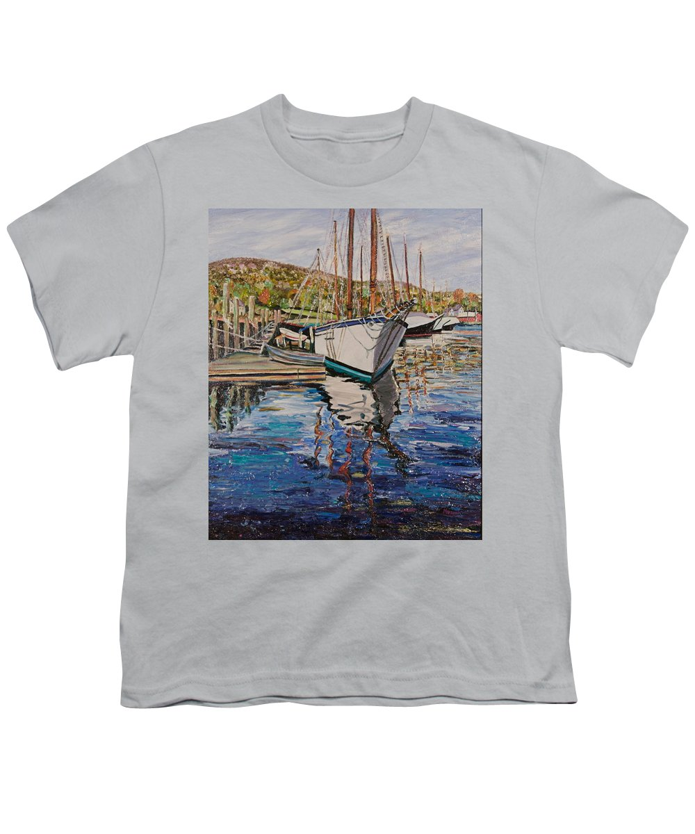 Maine Youth T-Shirt featuring the painting Maine Coast Boat Reflections by Richard Nowak
