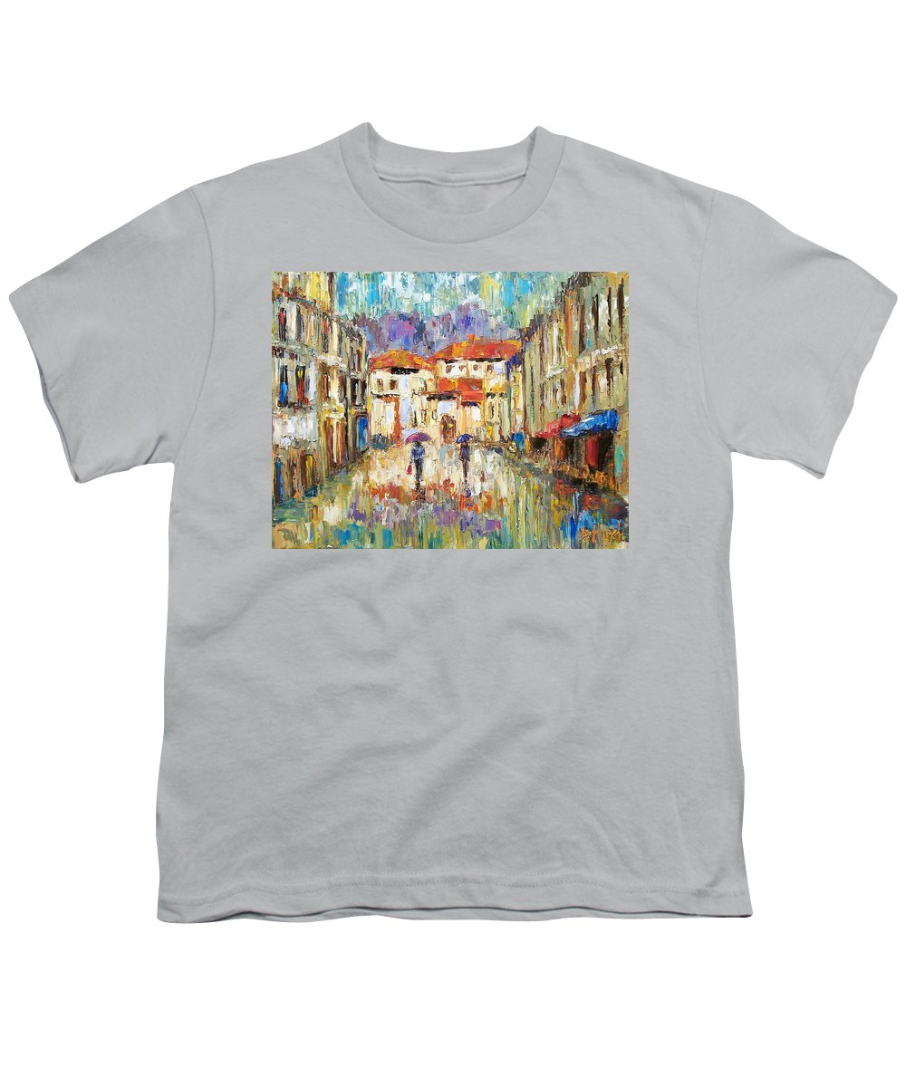 Landscape Youth T-Shirt featuring the painting Morning Rain by Debra Hurd