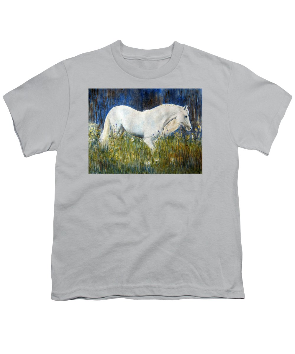 Horse Painting Youth T-Shirt featuring the painting Morning Walk by Frances Gillotti