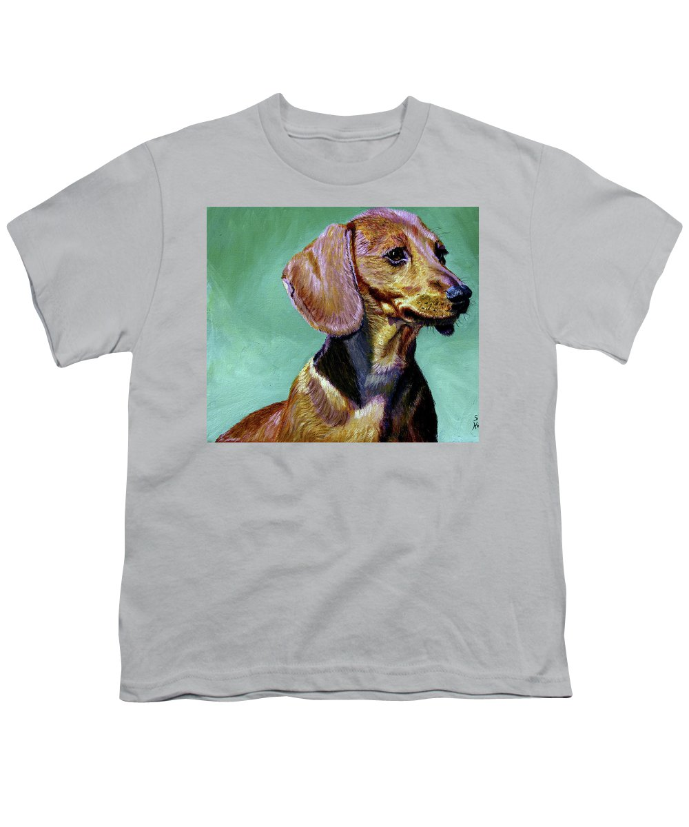 Daschund Youth T-Shirt featuring the painting My Daschund by Stan Hamilton