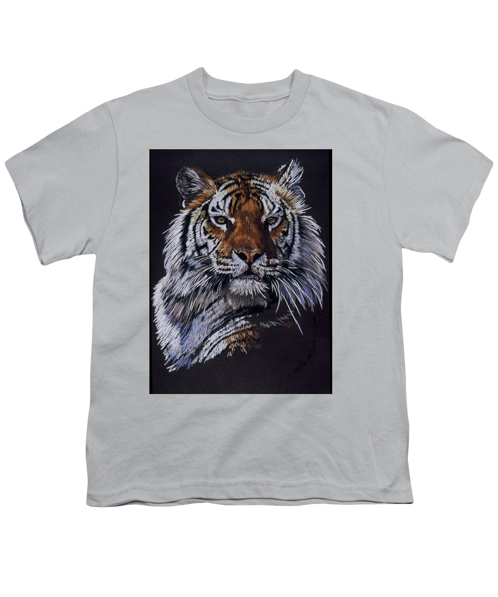 Tiger Youth T-Shirt featuring the drawing Nakita by Barbara Keith