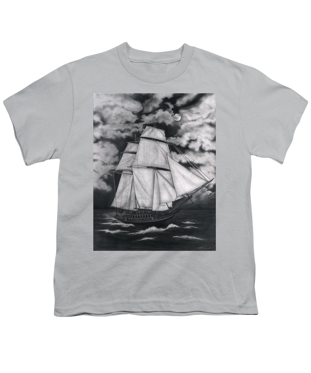 Ship Sailing Into The Northern Winds Youth T-Shirt featuring the drawing Northern Winds by Larry Lehman