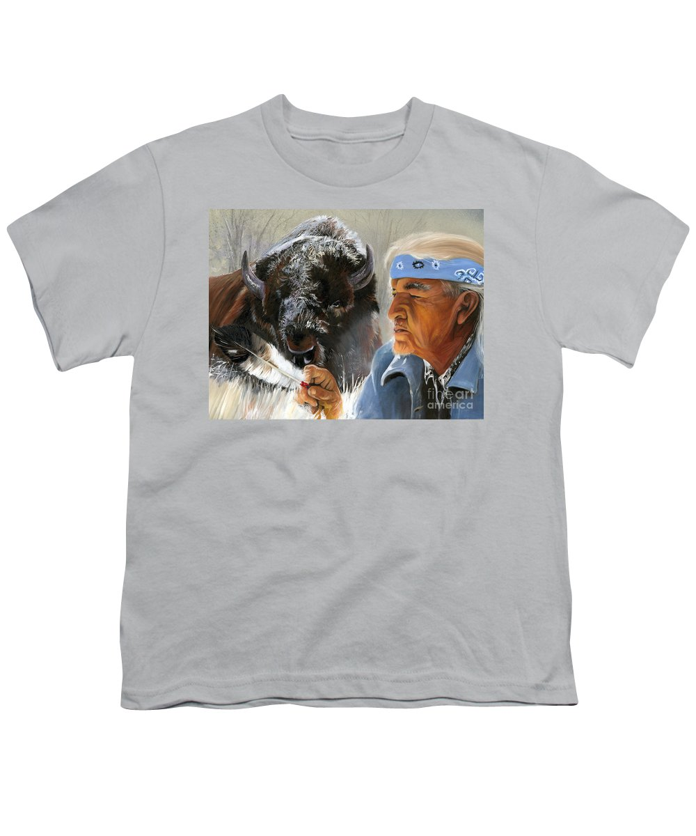 Southwest Art Youth T-Shirt featuring the painting Nothing Is Ever Forgotten by J W Baker