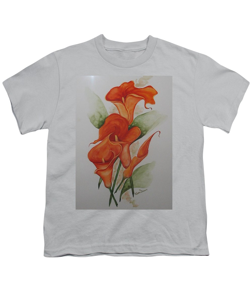 Floral Orange Lily Youth T-Shirt featuring the painting Orange Callas by Karin Dawn Kelshall- Best