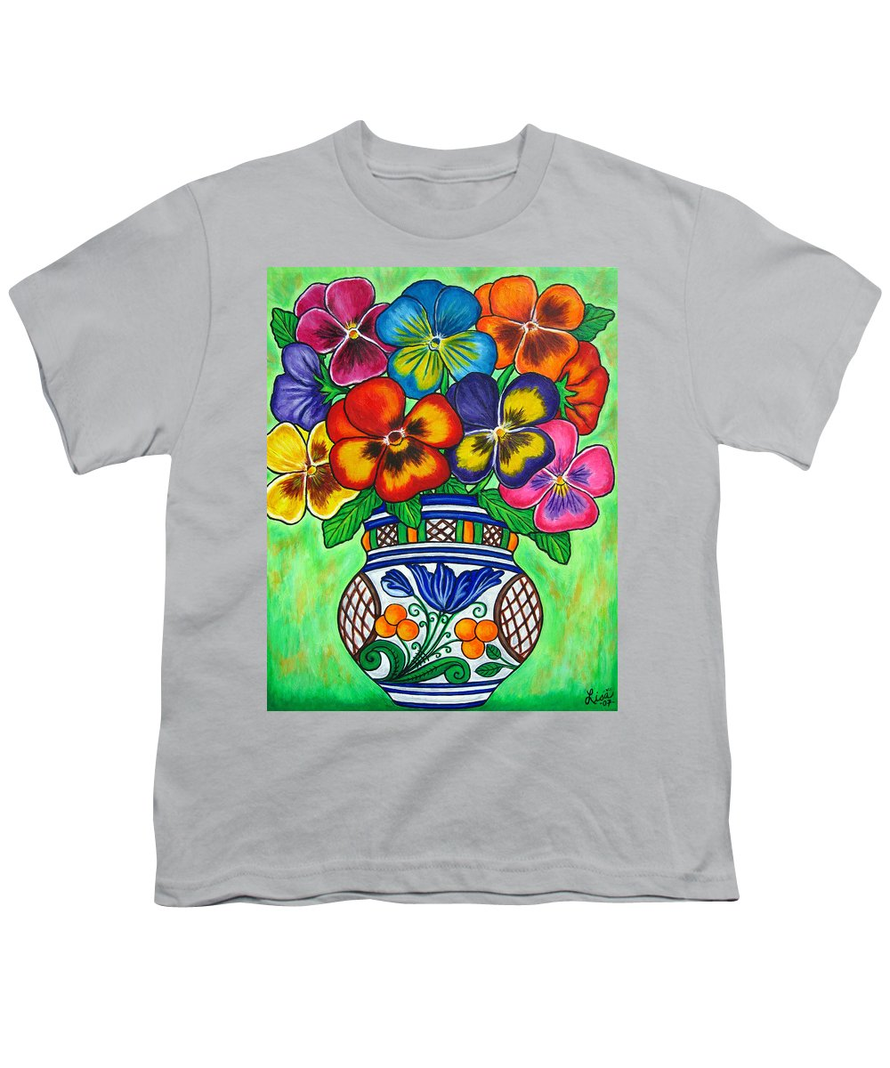 Flower Youth T-Shirt featuring the painting Pansy Parade by Lisa Lorenz