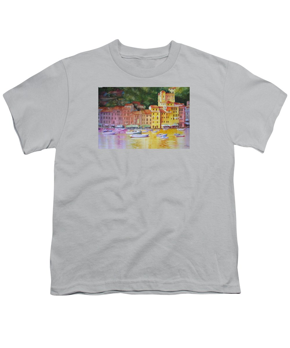 Italy Youth T-Shirt featuring the painting Portofino Afternoon by Karen Stark