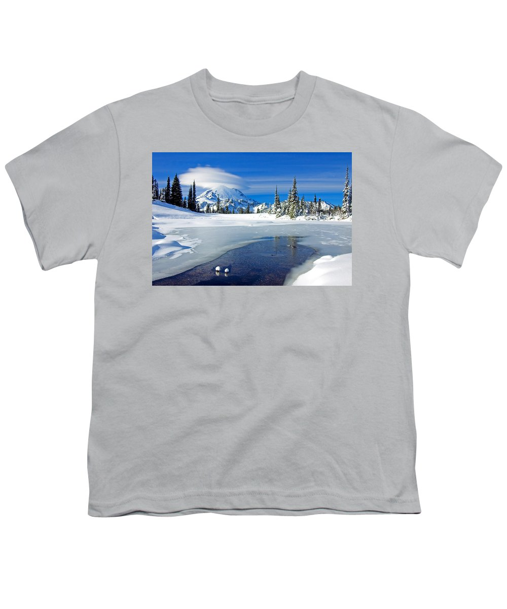 Rainier Youth T-Shirt featuring the photograph Pristine by Mike Dawson