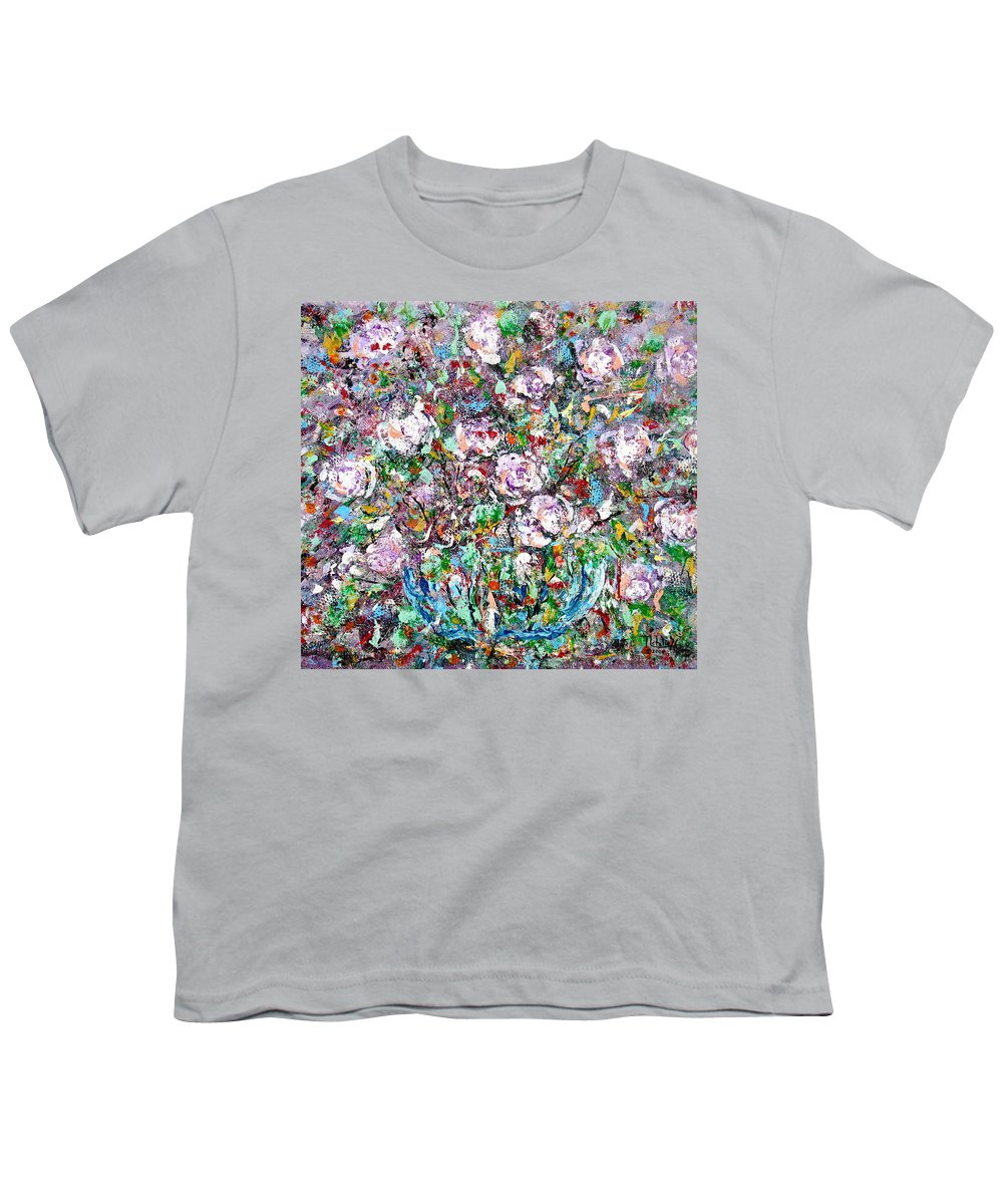Abstract Youth T-Shirt featuring the painting Purple Passions by Natalie Holland