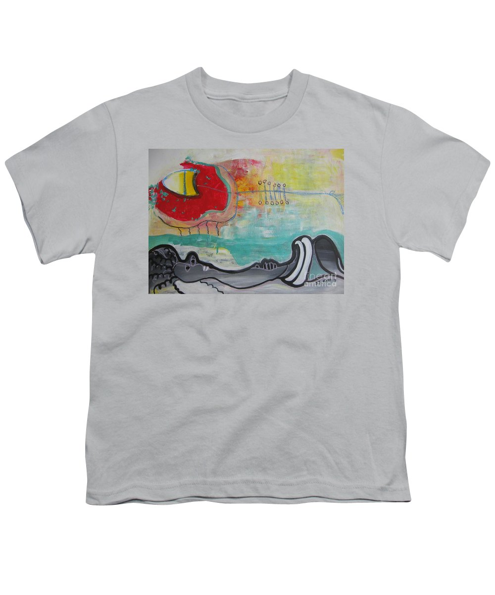 Red Paintings Youth T-Shirt featuring the painting Read My Mind1 by Seon-Jeong Kim