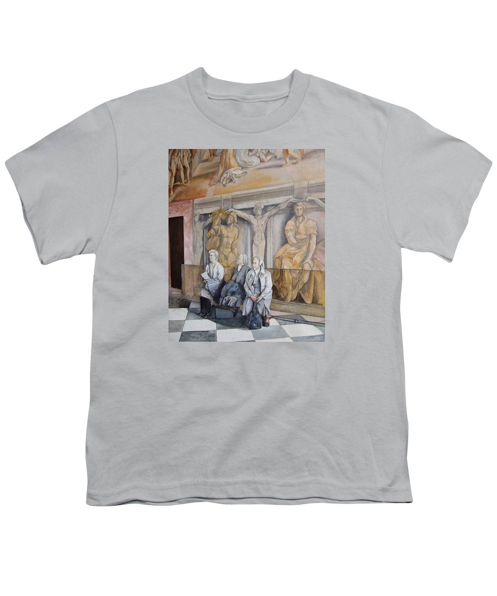 Vaticano Youth T-Shirt featuring the painting Reposo En El Vaticano by Tomas Castano
