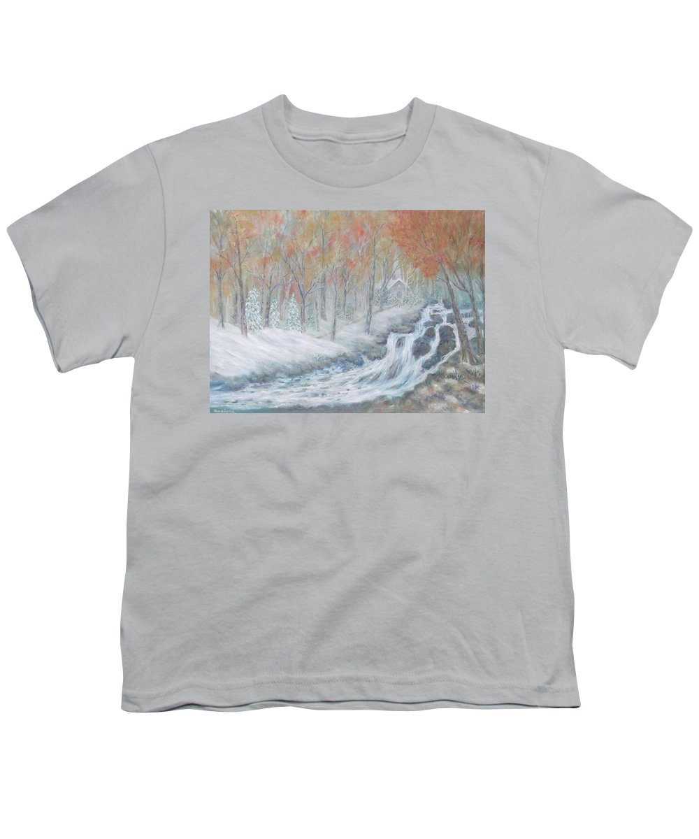 Snow; Landscape; Church Youth T-Shirt featuring the painting Reverence by Ben Kiger
