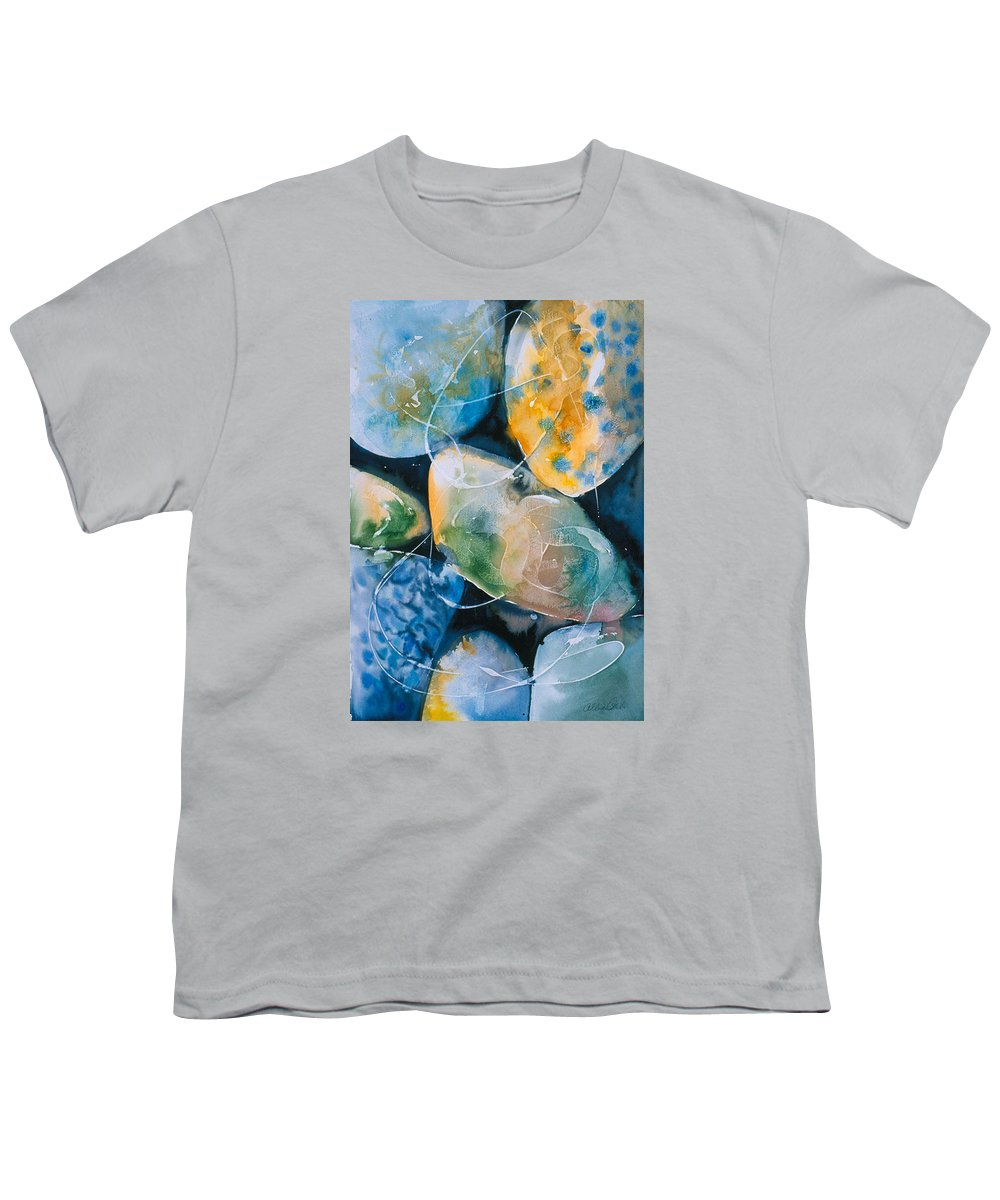 Water Youth T-Shirt featuring the painting Rock In Water by Allison Ashton