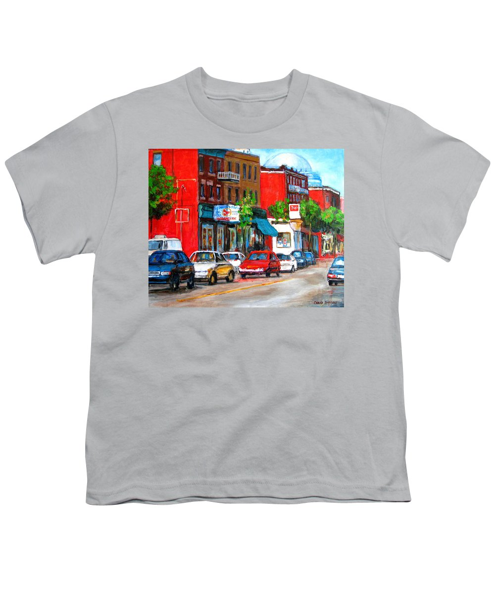 St.viateur Bagel Youth T-Shirt featuring the painting Saint Viateur Street by Carole Spandau