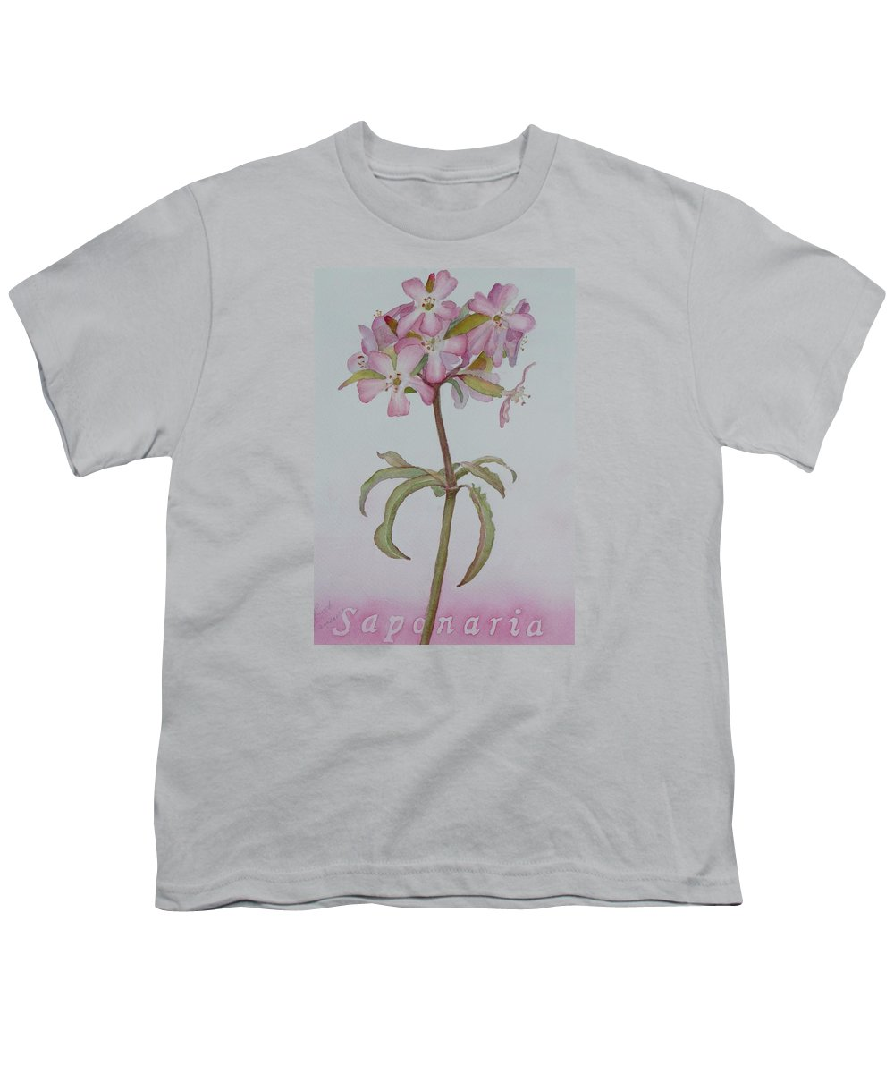 Flower Youth T-Shirt featuring the painting Saponaria by Ruth Kamenev