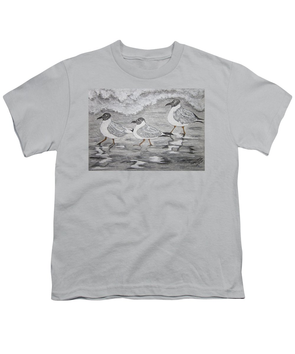 Sea Gulls Youth T-Shirt featuring the painting Sea Gulls Dodging The Ocean Waves by Kathy Marrs Chandler