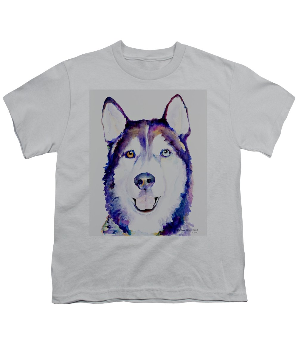 Siberian Husky Youth T-Shirt featuring the painting Simba by Pat Saunders-White