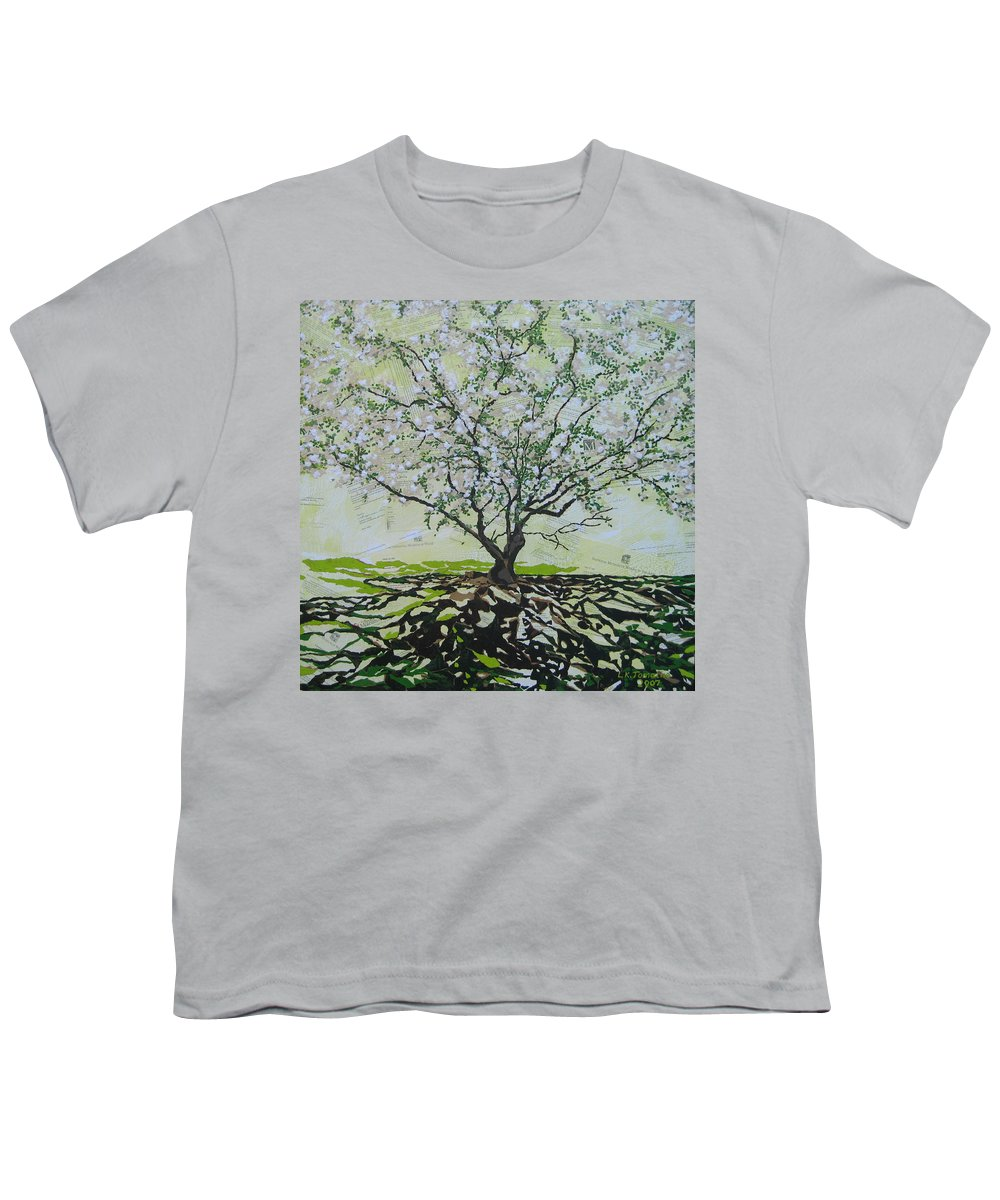 Apple Tree Youth T-Shirt featuring the painting Sincerely-the Curator by Leah Tomaino