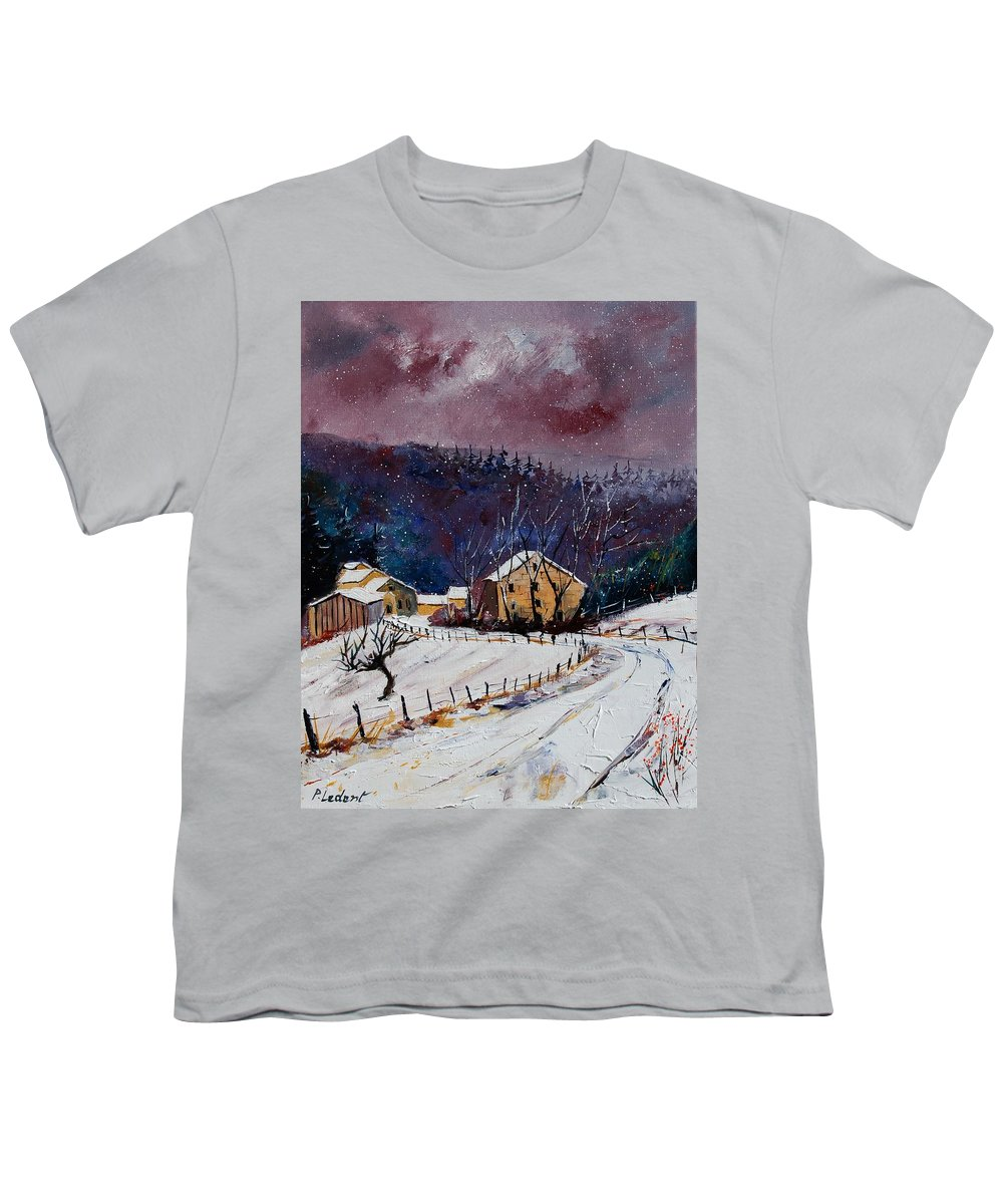Landscape Youth T-Shirt featuring the painting Snow In Sechery by Pol Ledent