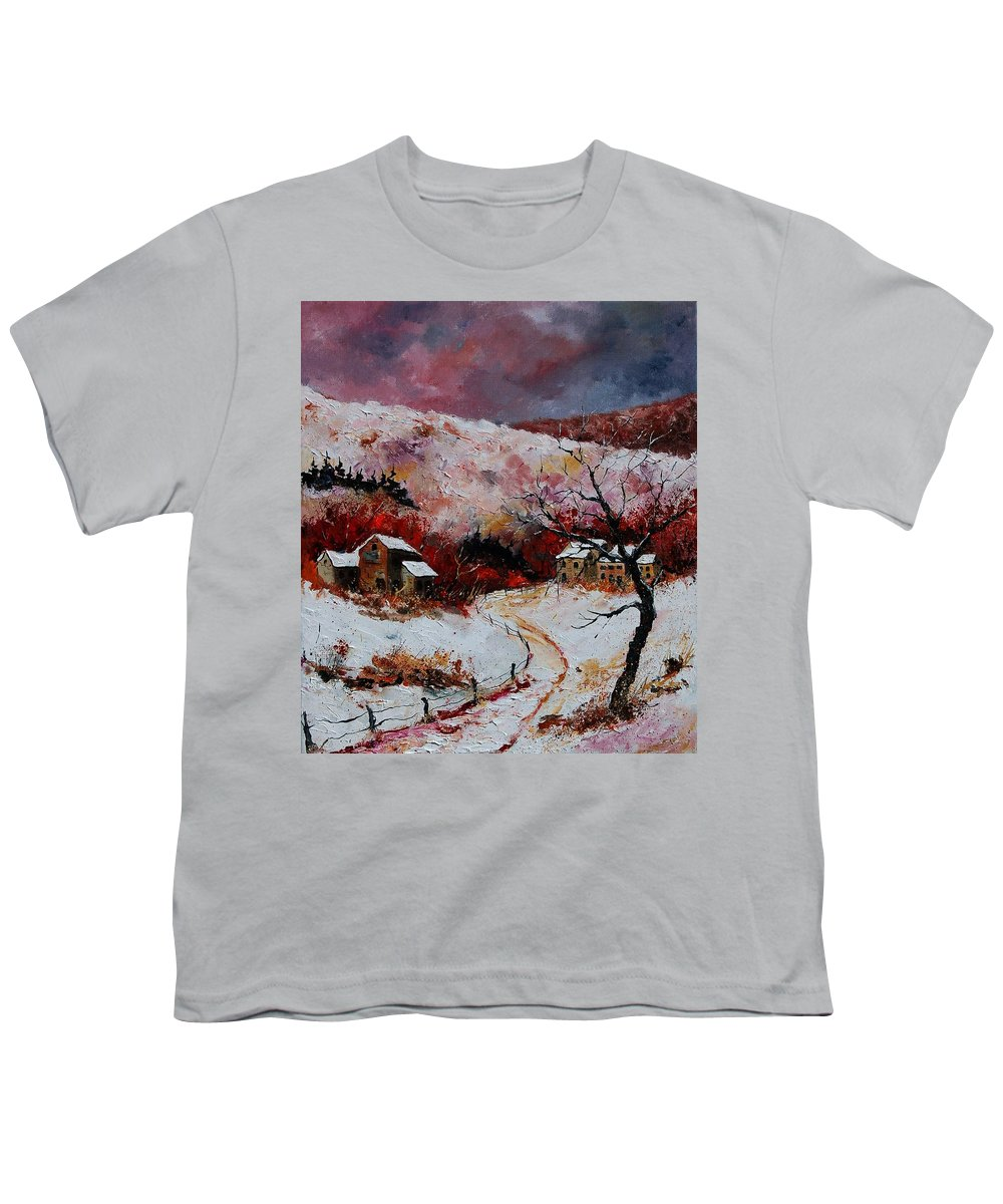 Snow Youth T-Shirt featuring the painting Snow In The Ardennes 78 by Pol Ledent