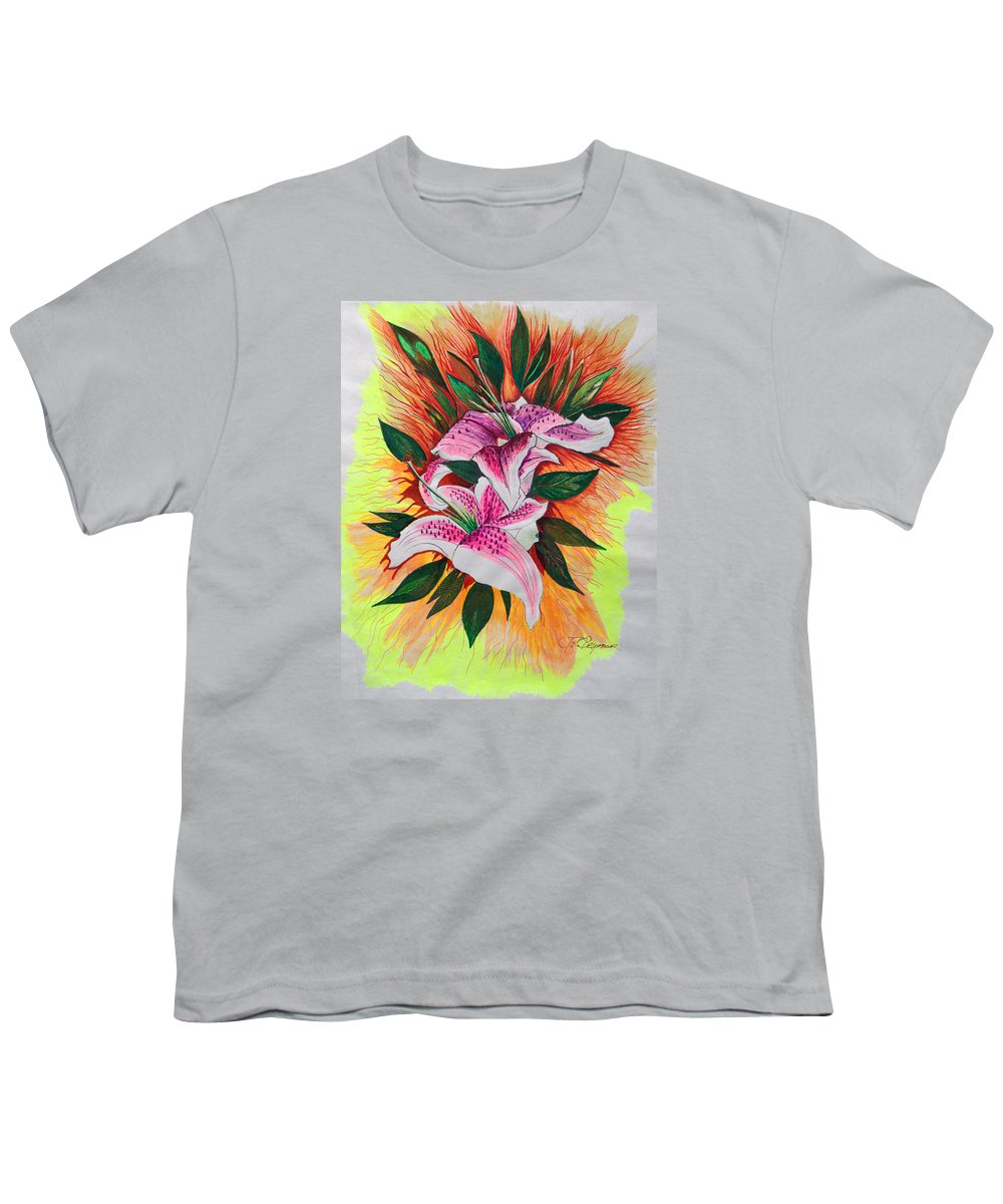 Flowers Youth T-Shirt featuring the drawing Stargazers by J R Seymour