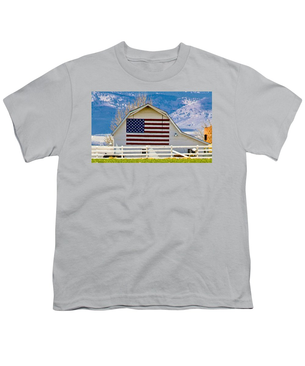 Barn Youth T-Shirt featuring the photograph Stars Stripes And Barns by Marilyn Hunt