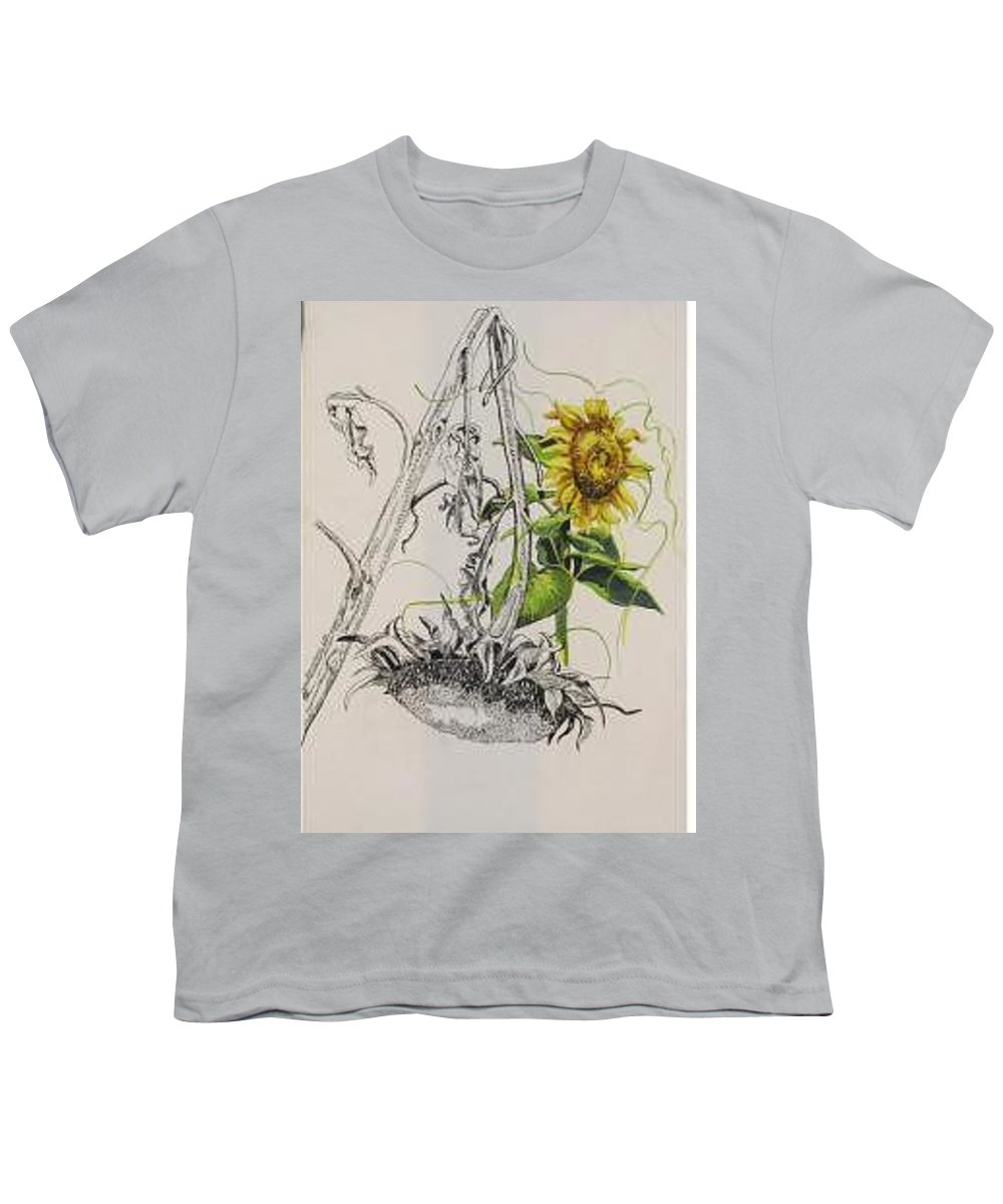 Large Sunflowers Featured Youth T-Shirt featuring the painting Sunflowers by Wanda Dansereau