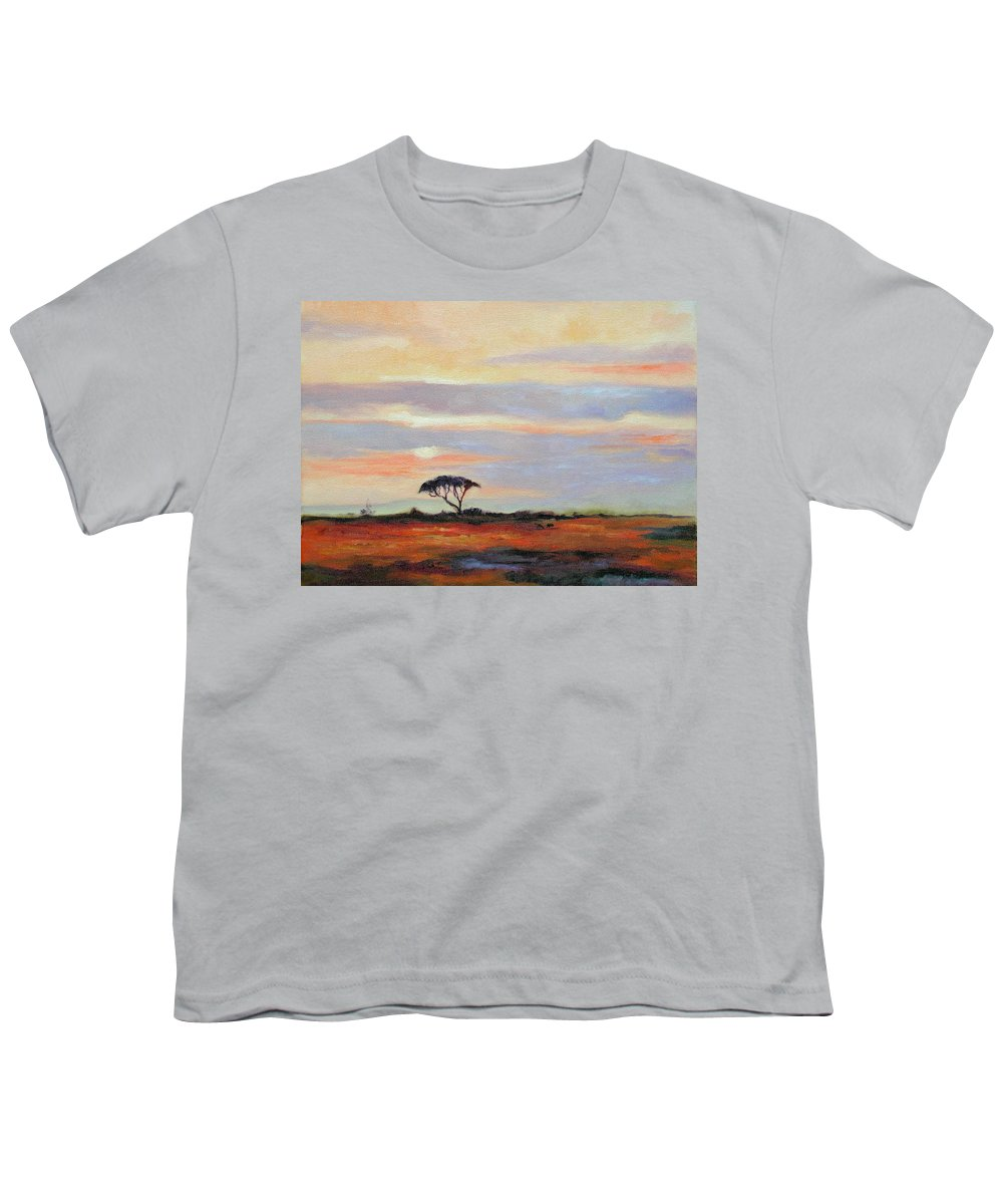 Landscape Youth T-Shirt featuring the painting Sunset On The Serengheti by Ginger Concepcion