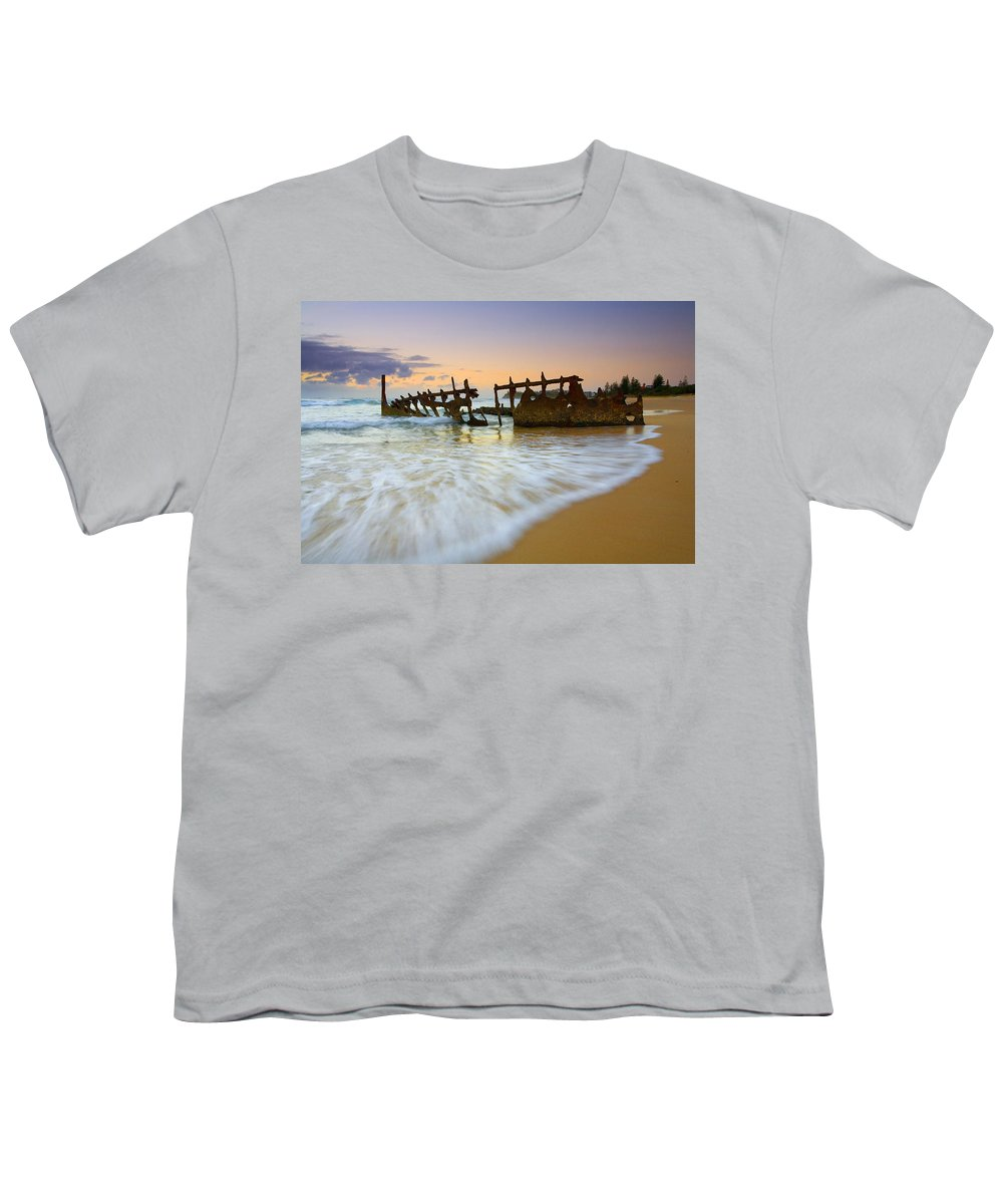 Shipwreck Youth T-Shirt featuring the photograph Swallowed By The Tides by Mike Dawson