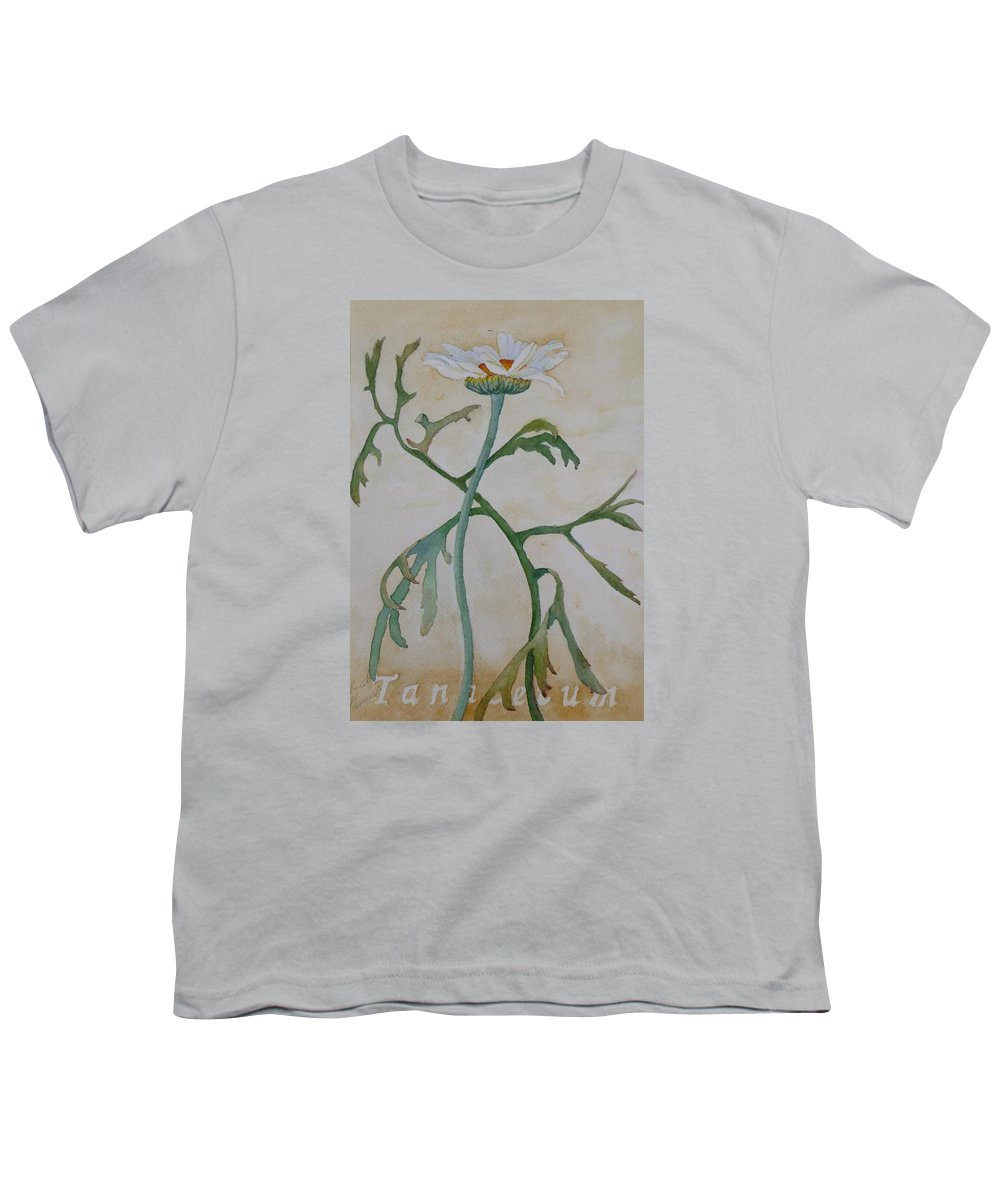 Flower Youth T-Shirt featuring the painting Tanacetum by Ruth Kamenev