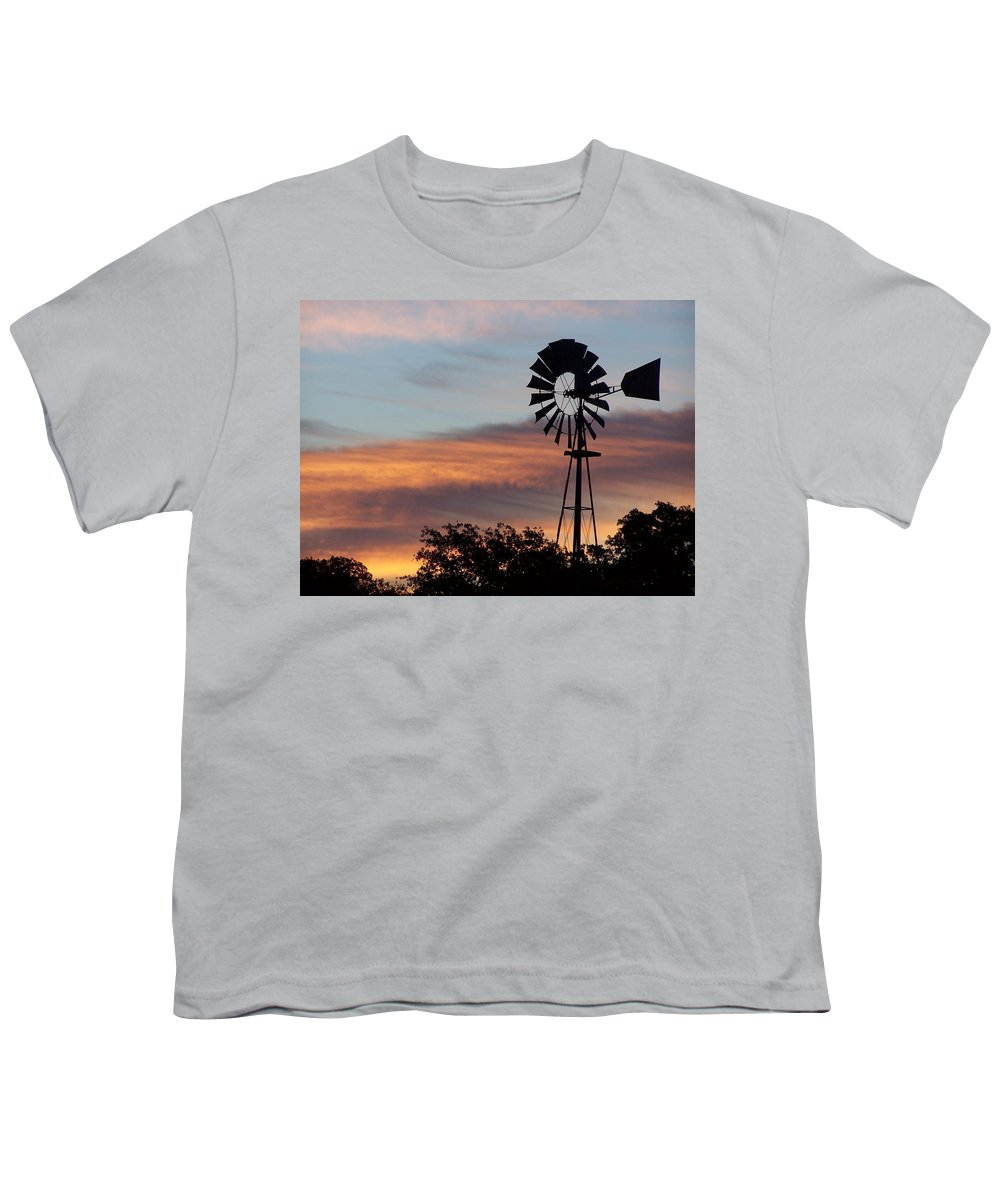 Windmill Youth T-Shirt featuring the photograph Texas Sunrise by Gale Cochran-Smith