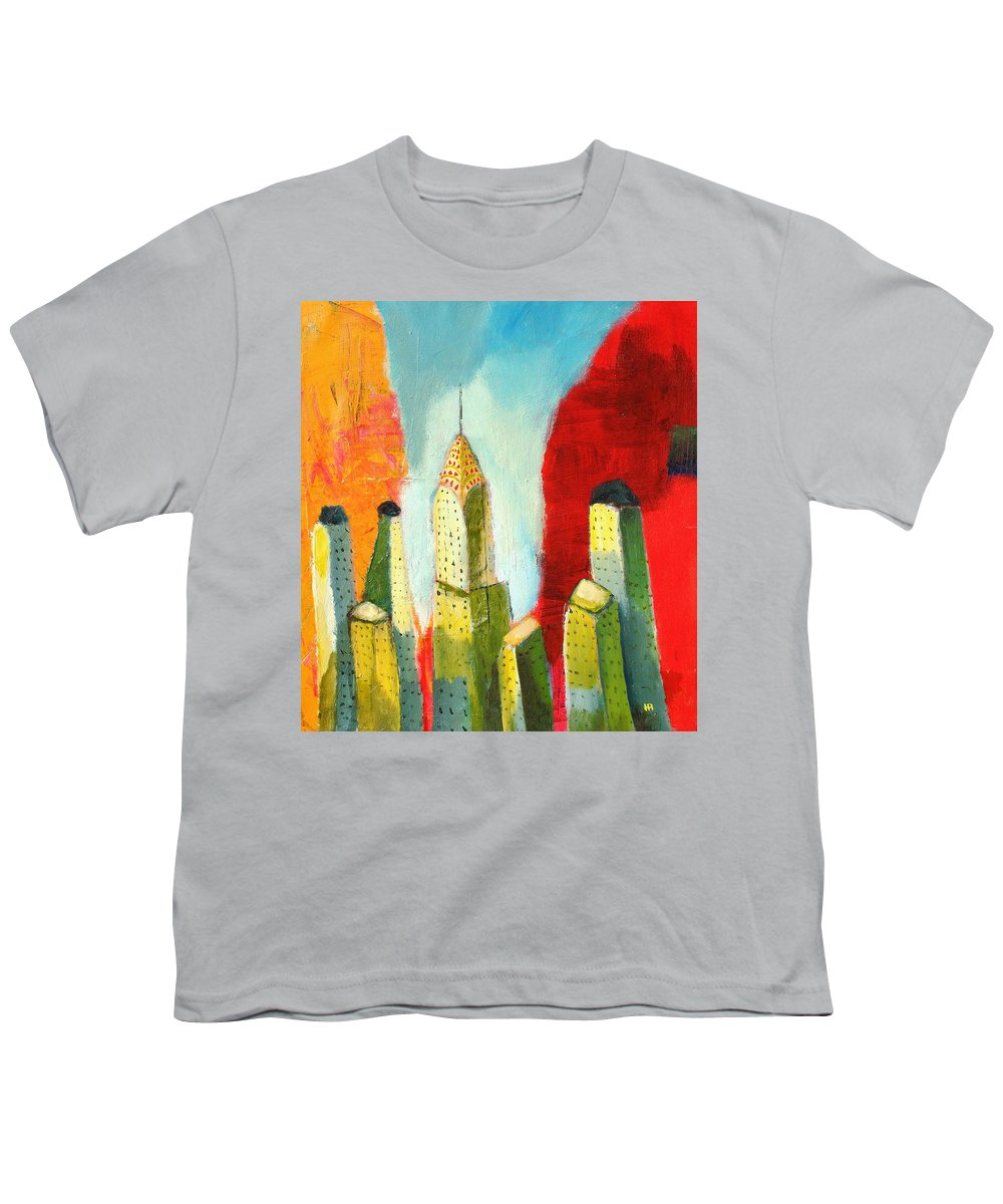 Abstract Cityscape Youth T-Shirt featuring the painting The Chrysler In Colors by Habib Ayat