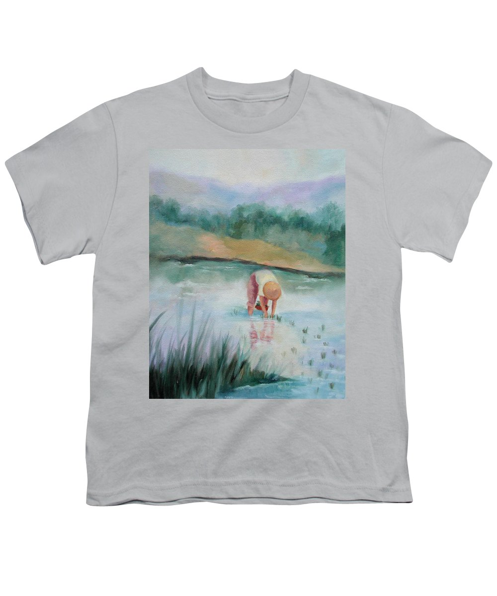 Figurative Youth T-Shirt featuring the painting The Rice Planter by Ginger Concepcion