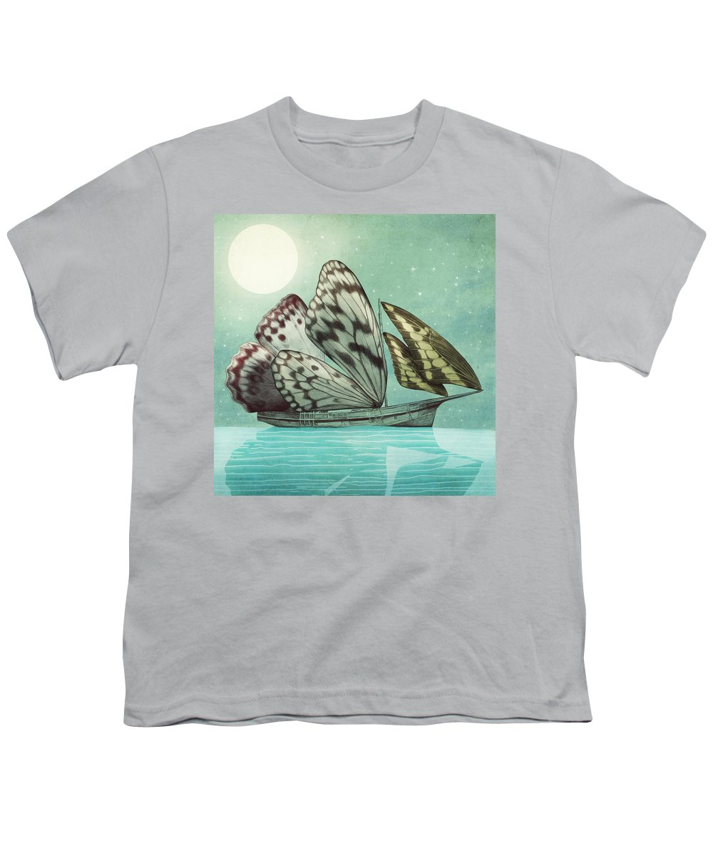 Butterfly Youth T-Shirt featuring the drawing The Voyage by Eric Fan