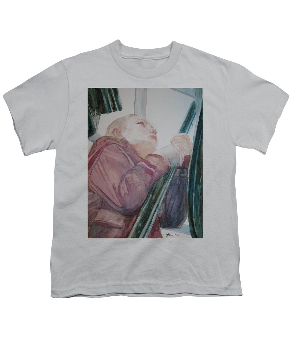 Boy Youth T-Shirt featuring the painting Top Of The Lighthouse Stairs by Jenny Armitage