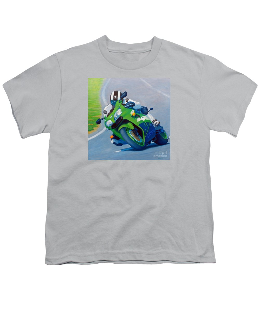 Motorcycle Youth T-Shirt featuring the painting Track Day - Kawasaki Zx9 by Brian Commerford