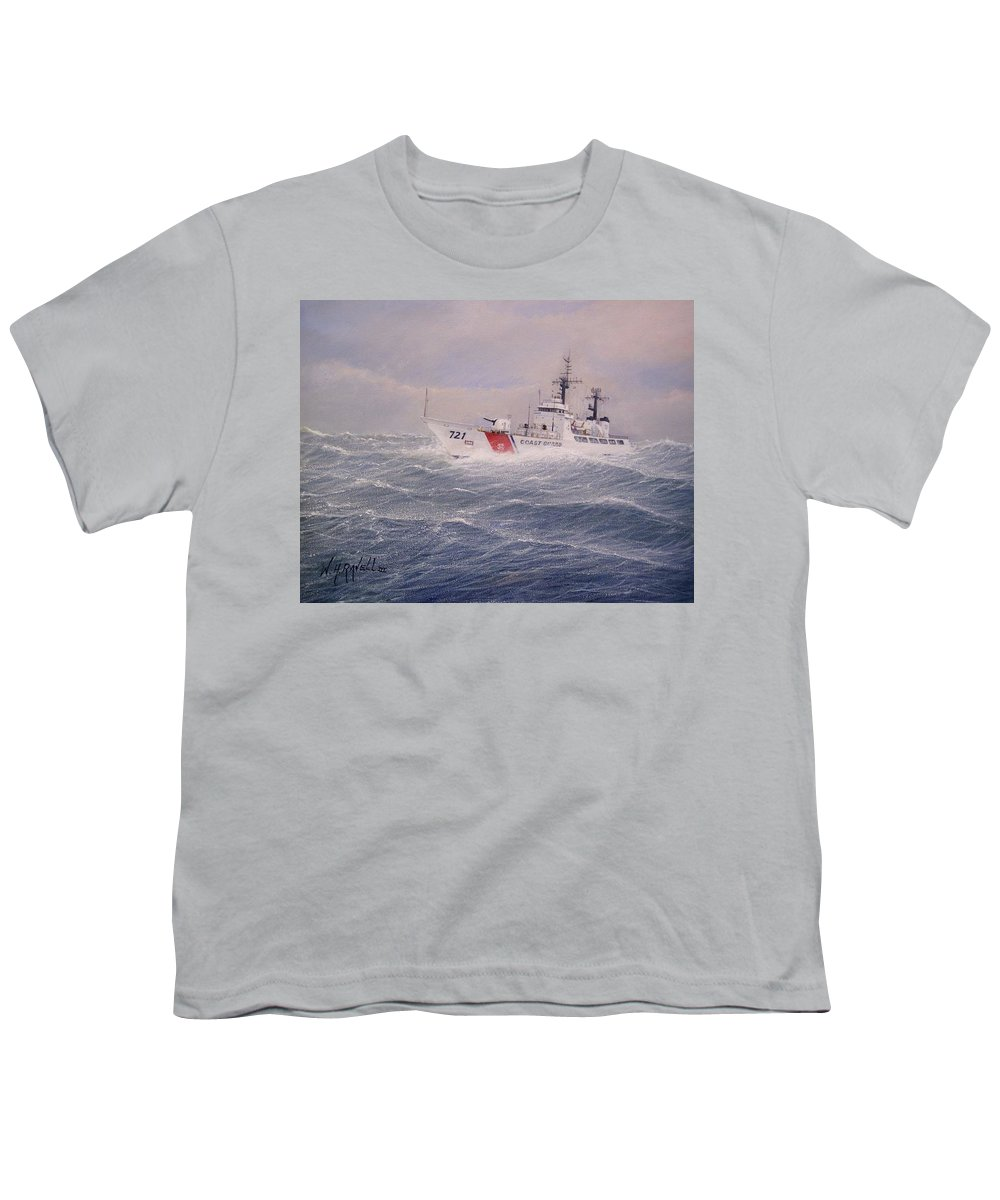 Ship Youth T-Shirt featuring the painting U. S. Coast Guard Cutter Gallitin by William H RaVell III