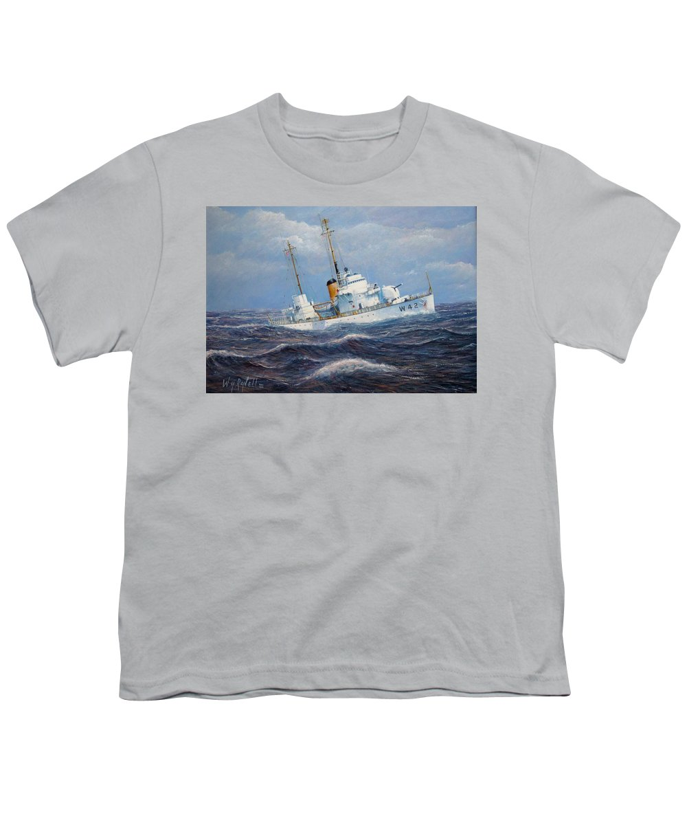 Marine Art Youth T-Shirt featuring the painting U. S. Coast Guard Cutter Sebago Takes A Roll by William H RaVell III