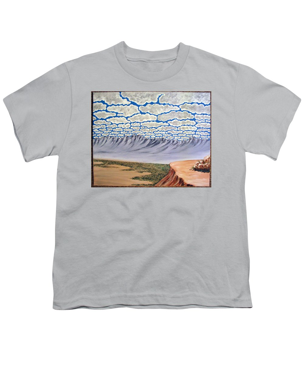 Desertscape Youth T-Shirt featuring the painting View From The Mesa by Marco Morales
