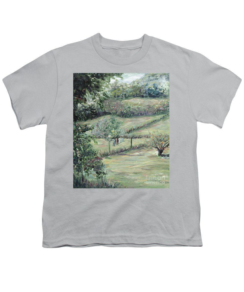 Landscape Youth T-Shirt featuring the painting Washday In Provence by Nadine Rippelmeyer